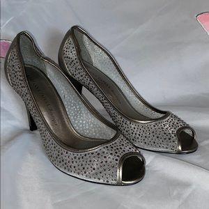 Adrianna Papell 8M Silver Jeweled Peep Toe Heels